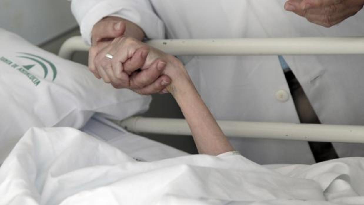 El doctor Salvador Alegre agarra la mano a Esperanza, paciente de Paliativos